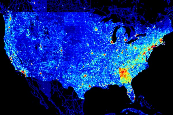 Heat map of the United States